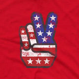 Peace Sign Hand and Fingers, USA, American Flag T-Shirt