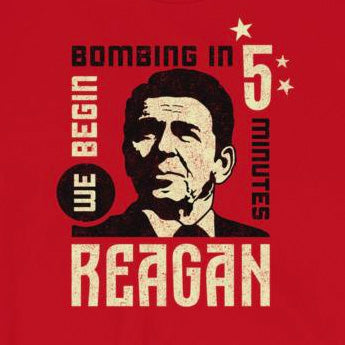 "President Reagan's Open Mic ""We Begin Bombing in 5 Minutes"" Short-Sleeve Unisex T-Shirt"