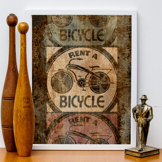 "12"" x 16"" ""Rent a Bicycle"" Distressed Retro-Look Poster, Grunge"