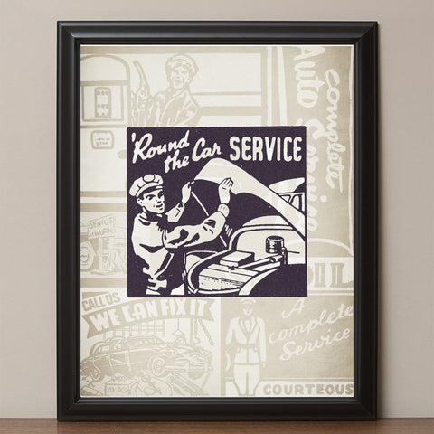 "12"" x 16"" Retro ""Round the Car Service"" Vintage Look Poster"