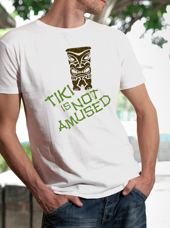 "Angry Tiki Unisex ""Tiki is Not Amused"" Island Idol Themed T-Shirt"