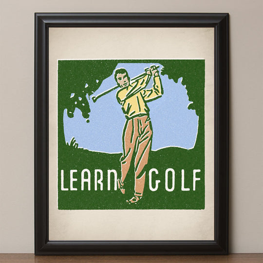 "12"" x 16"" ""Learn Golf"" Retro Poster"