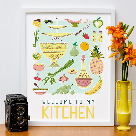 mid century modern poster, kitchen, welcome, cooking, dining