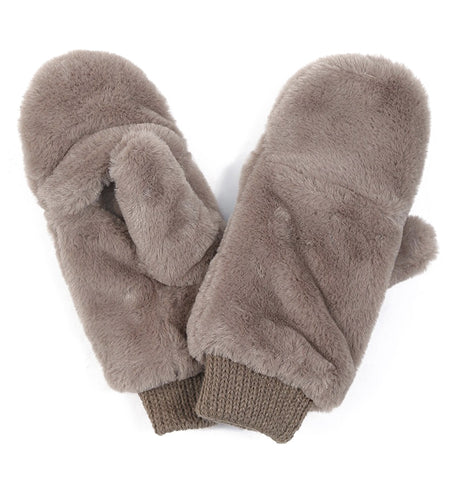 Flip-Top Mittens - Taupe