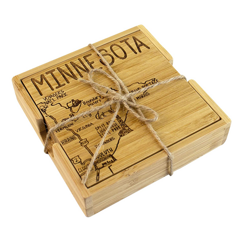 Minnesota Bamboo Coaster set