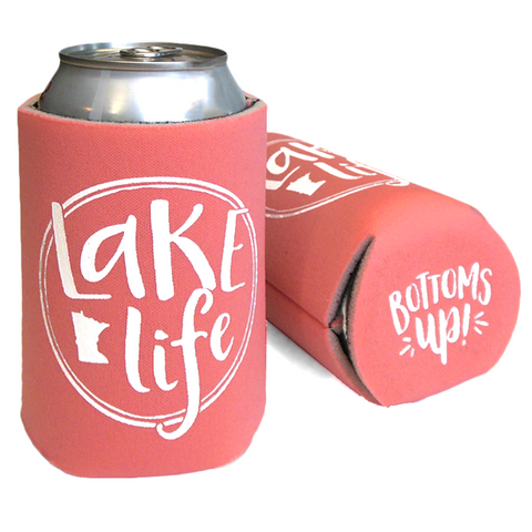 Cheap Chics Designs Coral Lake Life Koozie Bottoms Up