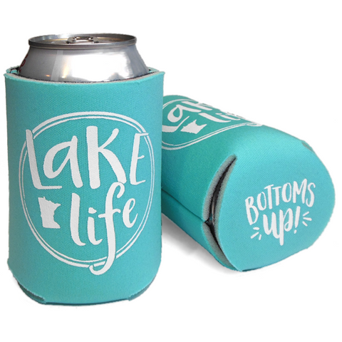 Cheap Chics Designs Robins Egg Lake Life Koozie Bottoms Up