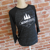 Cheap Chics Designs, CCD Apparel, Minnesota 3/4 sleeve raglan tee with marbled black body and black sleeves, Minnesota shirt