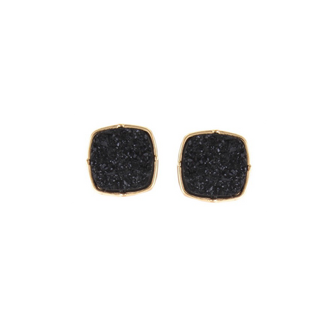 Druzy Stud Earrings - Black