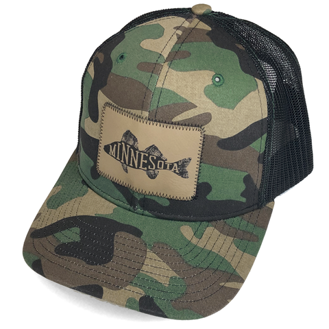 MN Walleye Faux Leather Patch Trucker Hat - Camo