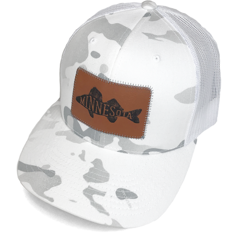 MN Walleye Faux Leather Patch Trucker Hat - White Camo
