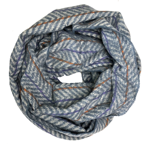 Infinity Scarf - Light Blue Herringbone