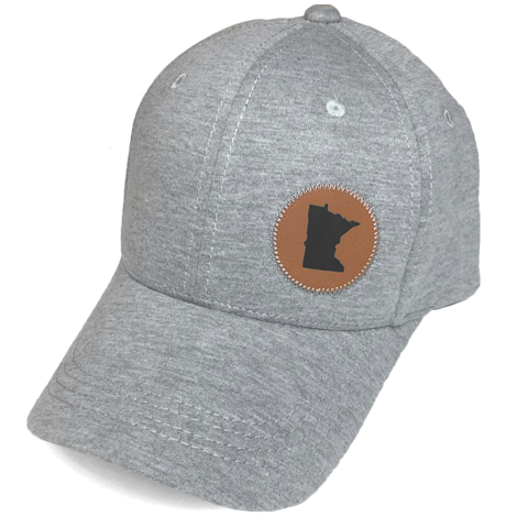 MN Faux Leather Patch Jersey Hat - Heathered Gray