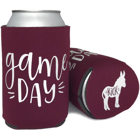 Cheap Chics Designs maroon Game Day (Kick Ass) Koozie, drink koozie, drink cooler, maroon can coolie, sports can koozie