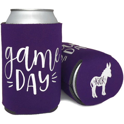 Cheap Chics Designs purple Game Day (Kick Ass) Koozie, drink koozie, Minnesota Vikings koozie, drink cooler, purple can coolie, sports can koozie