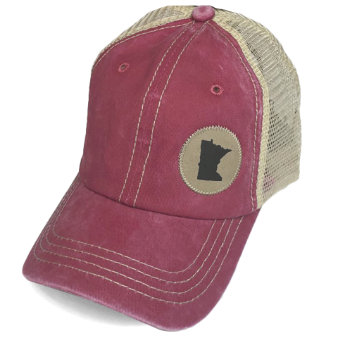 MN Faux Leather Patch Hat - Burgundy
