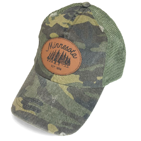 MN Mesh Faux Leather Hat - Camo