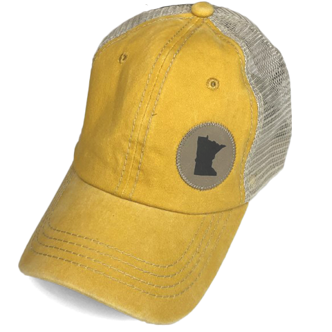 MN Faux Leather Patch Hat - Mustard