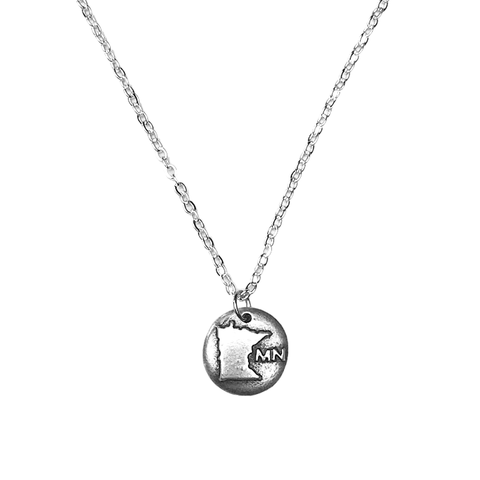 Cheap Chics Designs, Minnesota necklace, Minnesota state silver necklace