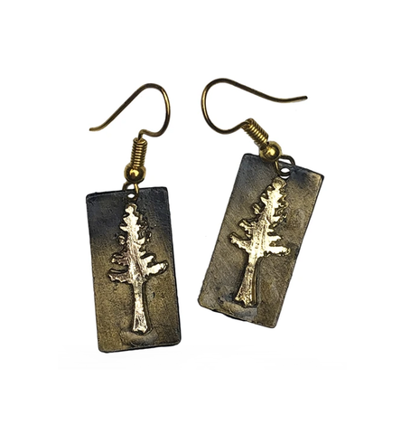 Pine Tree Earrings - Gold