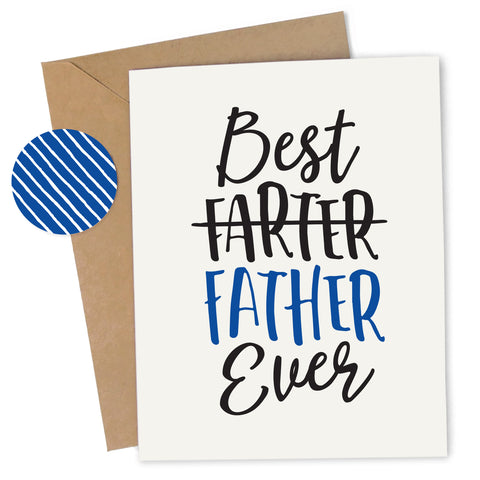 Cheap Chics Designs Piss & Vinegar Greeting Card, Best Father Ever, Best Farter Ever, funny greeting card, adult humor card, inappropriate Father's Day card, funny Father's Day card