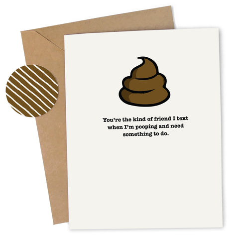 Cheap Chics Designs, Piss & Vinegar, poop greeting card with kraft envelope and envelope seal, adult humor, naughty greeting card, dirty greeting card, funny greeting card, poop humor, poop card