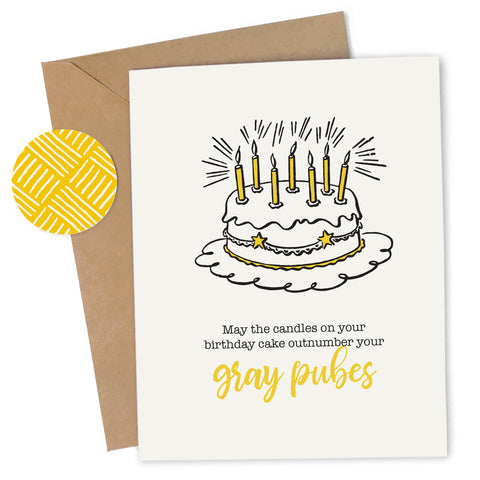 Cheap Chics Designs, Piss & Vinegar, Gray Pubes greeting card with kraft envelope and envelope seal, adult humor, naughty greeting card, dirty greeting card, funny greeting card, funny birthday card