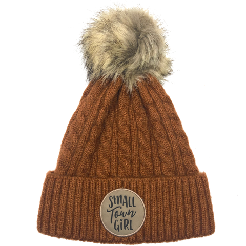 Small Town Girl Pom Beanie - Rust