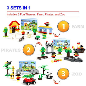 Brickyard Building Blocks 3-in-1 Building Bricks Set