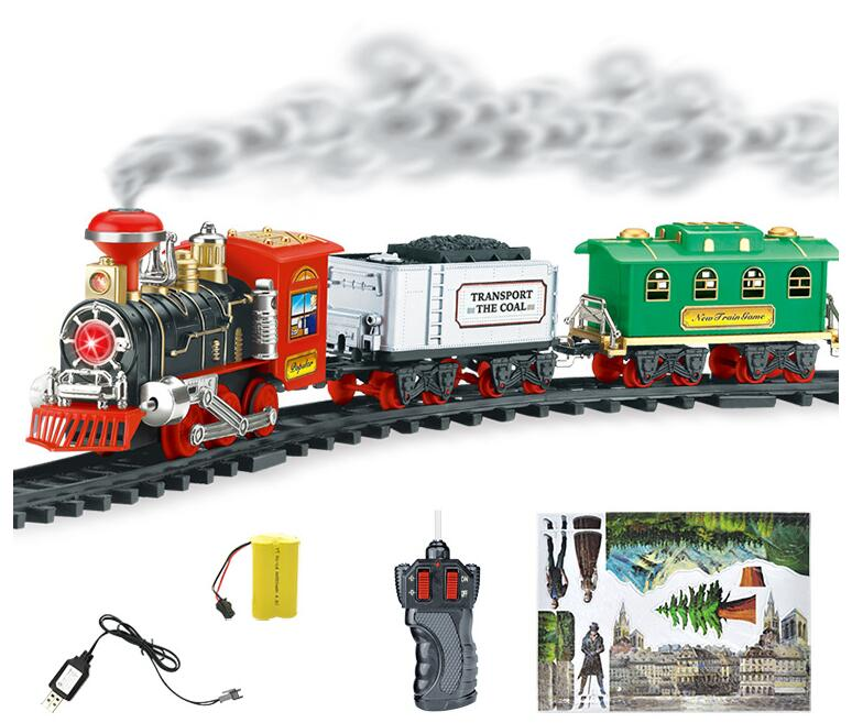 Classic Train Set for Kids with Smoke & Realistic Sounds