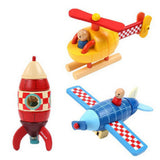 Wooden Magnetic DIY Puzzle: Rocket | Helicopter | Plane
