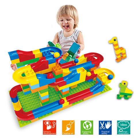 Self-Locking Blocks Marble Race Run