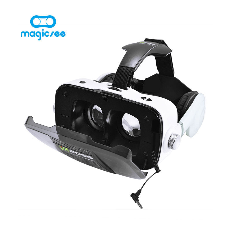 New VR BOSS Virtual Reality 3D glasses With headphone microphone Headset Speaker Button for 4.0-6.0 smartphone