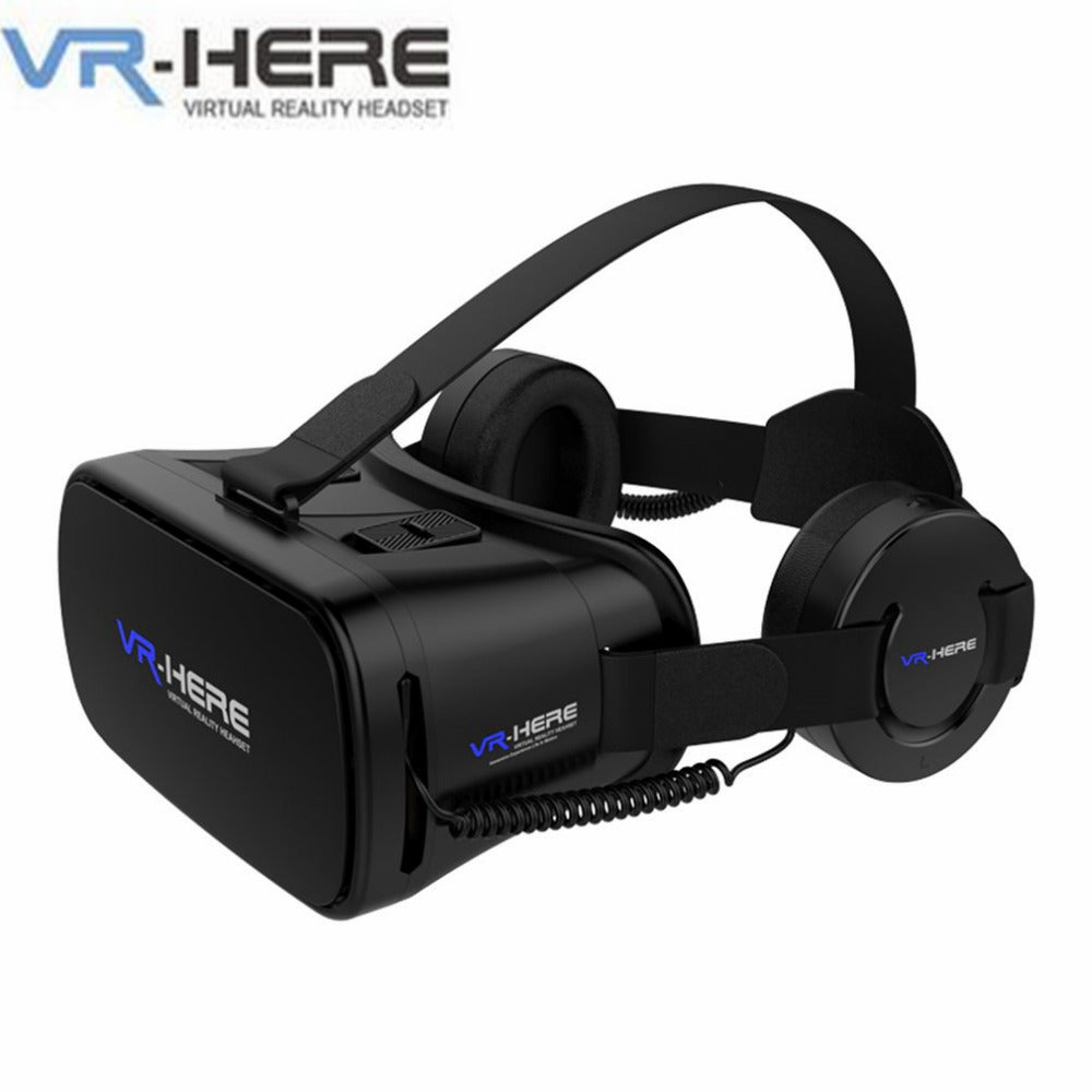 VR-HERE Virtual Reality Glasses Black with Earphones Wired VR Earphone Headset for VR Glasses For 4.7-6.0 Inch Smartphone