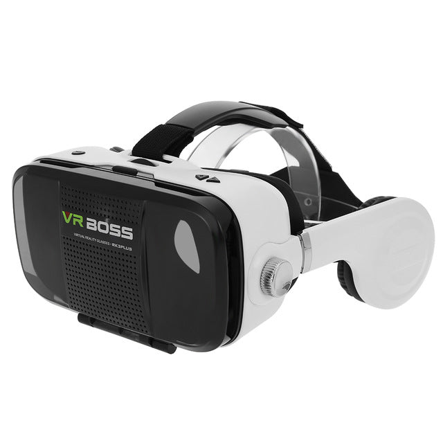 "VR BOSS 3D VR Glasses Virtual Reality Headset Head-Mounted 3D VR Box Case with HIFI Stereo Bass Headphone for 4-6.3"" Smart Phone"