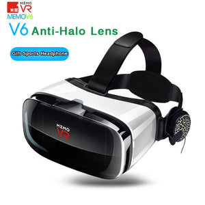 MEMO V6 Virtual Reality 3D VR Glasses for Cinema Helmet Smart VR Box 2.0 Headset Video Glasses for iPhone/Samsung Smartphone