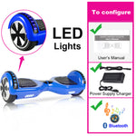 Electric Skateboard Hoverboard with Led Bluetooth Speaker