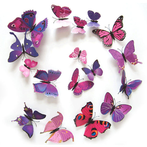 3D Wall Stickers - Purplish Red Butterflies - DIY Room Decor