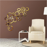 Acrylic Mirror Wall Stickers - DIY Room Decor - Circles - Gold