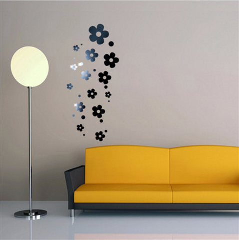Acrylic Mirror Wall Stickers - DIY Room Decor - Flowers - Black