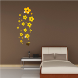 Acrylic Mirror Wall Stickers - DIY Room Decor - Flowers - Gold