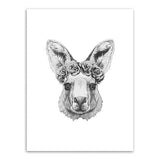 Frame less Canvas Art - Hand Drawn Alpaca Head with Grey Rose Crown - DIY Art