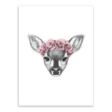 Frame less Canvas Art - Hand Drawn Deer Head with Red Rose Crown - DIY Art