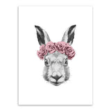 Frame less Canvas Art - Hand Drawn Rabbit Head with Red Rose Crown - DIY Art
