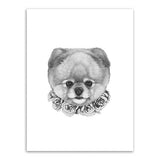 Frame less Canvas Art - Hand Drawn Dog Head with Grey Rose Garland - DIY Art