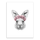 Frame less Canvas Art - Hand Drawn Alpaca Head with Red Rose Crown - DIY Art