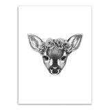 Frame less Canvas Art - Hand Drawn Deer Head with Grey Rose Crown - DIY Art