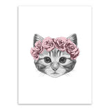 Frame less Canvas Art - Hand Drawn Cat Head with Red Rose Crown - DIY Art