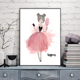 Frame less Canvas Art - Water Color Happy Girl  - DIY Art