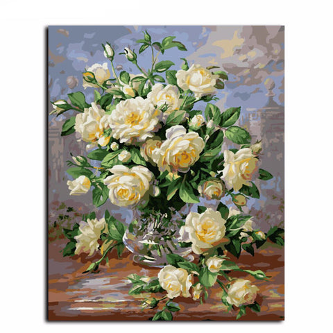 DIY Oil Painting - White Rose Vase - DIY Art Home Decor